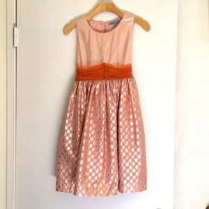 Coral pink dress with gold foil patterned skirt